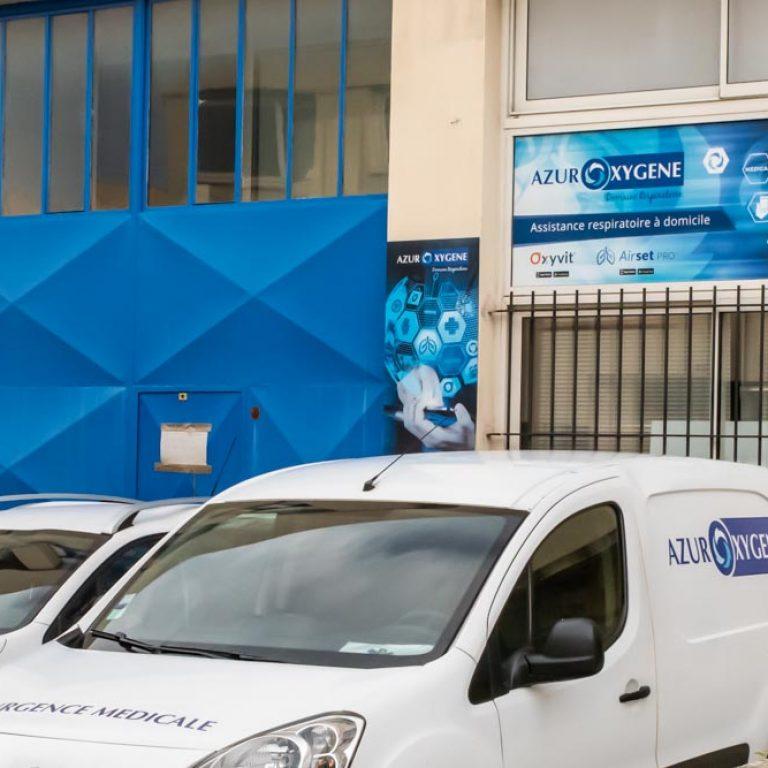 Devanture des locaux de l'entreprise Azur Oxygene