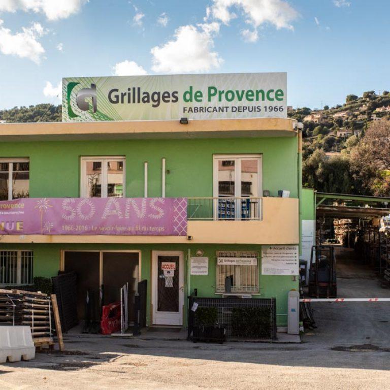 Entrée des locaux de l'entreprise Grillages de Provence