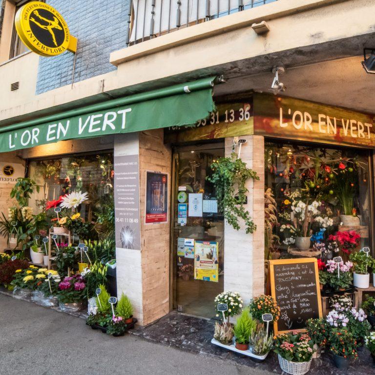 Devanture du Fleuriste l'Or en Vert